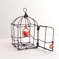 Bitsy Bird in a Cage by sparkflight on Etsy, $70.00