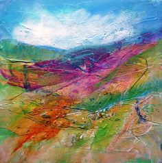 """10x10"""" mixed media on board. Shropshire landscape, spirit of place. Marie Allen"""