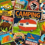 Camping Fabric - The Do's And Don'ts Of Camping By Retrorudolphs- Vintage Park Camp Travel Summer Cotton Fabric By The Yard With Spoonflower Retro Rv, Retro Camping, Camping Theme, Camping Fabric, Go Ride, Retro Fabric, Navy Fabric, Vintage Trailers, Vintage Campers
