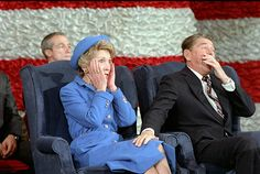 1/21/1985 Nancy Reagan reacts to being told she forgot to introduce President Reagan at Inaugural band concert at Capital Centre in Landover, Maryland