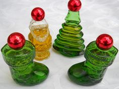 Vintage Christmas Glass Bottles Avon