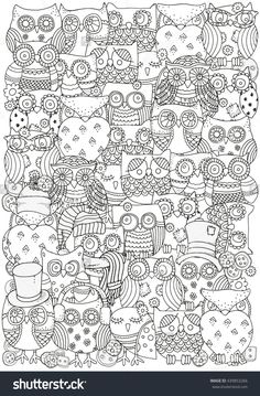 Raster Copy Pattern For Coloring Book A4 Size Owls Black And White