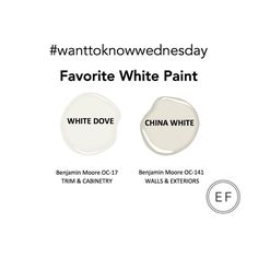First #wanttoknowwednesday My Favorite White Paint. I love White Dove (especially for cabinetry and trim) and China White (great for walls and exteriors) by @benjaminmoore .... My next runner up is Simply White. Thanks for the question @spaylor