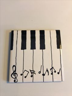 "Hand painted with oil paint 3"" x 3"" tile - piano keys with floating notes"