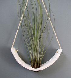 Hanging Air Plant Cradle (tm) - Natural White Earthenware Planter Vase. $32.00, via Etsy.