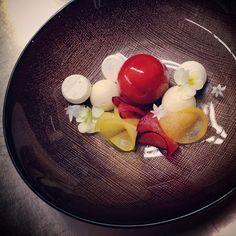 """Spiced plum""...Santa Rosa plum mousse, spiced pavlovas, honey semifreddo and hazelnuts#plums#pastry#theartofplating#dessert#madronamanor"
