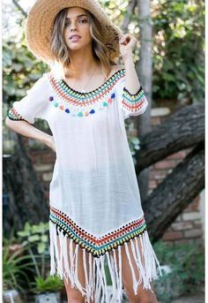 Who wouldn't want to hangout at the beach all day wearing this adorable Tassel cover up? 3 4 Sleeve Shirt, Crochet Fashion, Bathing Suits, Tassels, Scoop Neck, Cover Up, Crochet Style, Tunic Tops, Shirt Dress