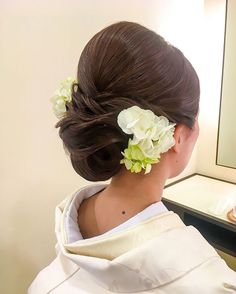 -(notitle) See it Evening Hairstyles, Bun Hairstyles, Wedding Hairstyles, Japan Hairstyle, Wedding Kimono, Wedding Dresses, Japanese Wedding, Hair Arrange, Bridal Hair Flowers