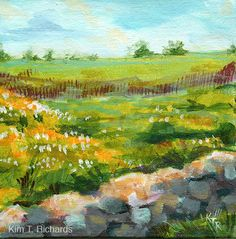 "Last spring, I spent a day at Rock Spring Farm with the Loudoun Sketch Club. I was enchanted by the yellow field of coreopsis, and have painted two paintings of it to date. Perhaps there will be more….  6x6"" unframed acrylic on canvas panel by Kim T. Richards"
