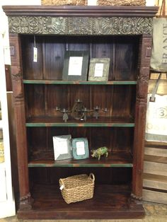 Reclaimed Wood Carved Bookcase  Distressed Vintage Import Unique Furniture Fayetteville, AR