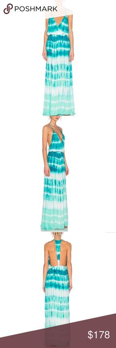 """YF&B Deep V-Neck Low Back Tie Dyed Maxi Dress Gorgeous Young Fabulous & Broke Nala maxi dress in Caribbean Tide Wash. Has a side slit on the left side only. Elastic banded waist with a racerback. 92% modal, 8% spandex. Approx 58.8"""" from shoulder to hem. I love this dress but I've never had a chance to wear it.  It's absolutely stunning Boho Chic maxi dress🌼Sold out. Young Fabulous & Broke Dresses Maxi"""