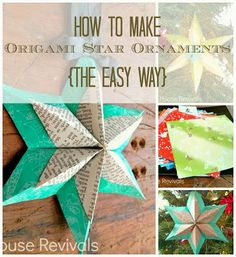House Revivals: How to Make a Folded Paper Star {The Easy Way} love the snowflake too Christmas Projects, Holiday Crafts, Fun Crafts, Christmas Crafts, Crafts For Kids, Paper Crafts, Christmas Ideas, Christmas Stars, Simple Crafts