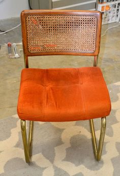 """""""When I saw this little cantilevered babe at the thrift store, I knew I wanted to try to give it new life."""" See how she reupholstered this chair and made it """"swoon-worthy""""!"""