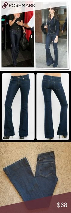 J Brand Love Story Pure Wash Flare Jeans J. Brand Love Story Pure Wash Wide Leg Jeans  style #722C032 RN #117965 Cut #6778 92% Cotton 7% Polyester 1% Spandex  Celebrity fans: Jessica Alba, Claudia Schiffer, Adriana Lima, Kate Moss, Devon Aoki, Heidi Klum  Approx Measurements:  rise: 7'' waist: 13'' inseam: 32''  Condition: excellent preowned, slightly worn no flaws, no tears or strains. There is an extra button added on the inside of the waist. J Brand Jeans Flare & Wide Leg