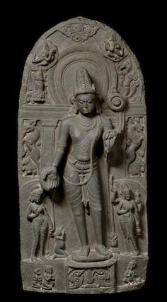 A blackstone stele of Avalokitshvara Bihar, Pala period, late 10th century