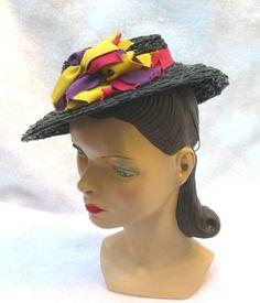 8c686c7d6ff 30 s 40 s Vintage Black Straw Tilt Hat with by MyVintageHatShop
