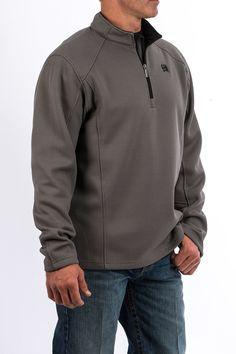 Mens Gray 1/4 Zip Pullover