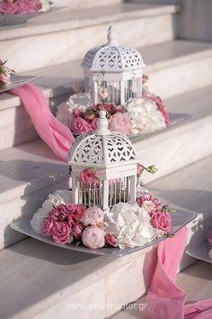 birdcage wedding center piece (Diy Decoracion Flores)