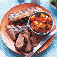 Grilled Pork Loin with Fire-Roasted Pineapple Salsa Recipe #memorialday #grill #recipes