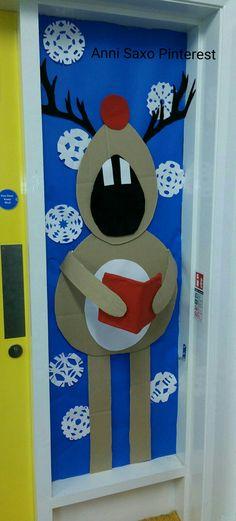 Christmas Door, Raindeer singing, Porta de Nadal, puerta navidad, reno navideño cantando