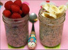 Preparado de frutas con leche, avena, yogurt y chia. Ingredientes 1/4 taza de avena de grano entero orgánico1/3 taza de leche de almendras1/4 taza de yogurt natural1-1/2 cucharaditas de semillas de chia1/4 cucharadita de extracto de vainilla1 cucharada de mermelada de fresa (hecha en casa)1/4 a 1/3 taza de frambuesas (corte cada baya por la …