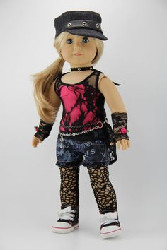 American Girl doll clothes  Punk style shorts by DolliciousClothes