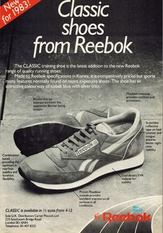 Reebok is a major player in the worldwide sneaker game, and right now they're winning. From the Classic to the Pump, we look at where it all began. Retro Ads, Vintage Advertisements, Vintage Ads, Vintage Posters, Men Chest Hair, New Reebok, Expensive Shoes, Vintage Sneakers, Best Ads