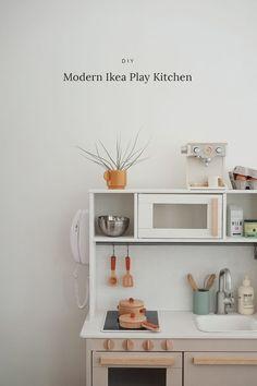 modern ikea play kitchen hack – almost makes perfect - Küche Ikea Kids Kitchen, Diy Kitchen, Kitchen Decor, Kitchen Racks, Crazy Kitchen, Diy Interior, Modern Ikea Kitchens, Kitchen Modern, Play Kitchens