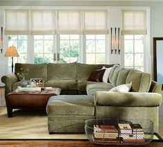 Pearce Upholstered Right 4-Piece Corner Wedge Sectional, Down-Blend Wrap Cushions, Textured ... this may be the perfect couch, but in a different color, maybe cream.