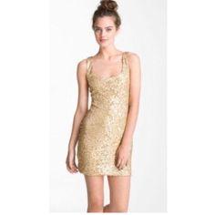As U Wish Gorgeous Gold Sequin Tank Dress