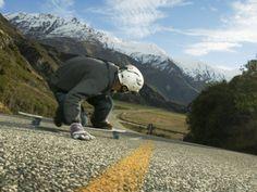 Man Going Down Hill on Longboard Skate, Treble Cone, Wanaka, New Zealand Photographic Print