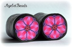 Polymer clay pink flower cane | by AyeletBeads