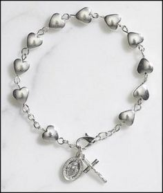 """Silver Tone Heart Rosary Bracelet w/ St Mary Miraculous Medal, Great for First Communion or Confirmation. Jewelry. Qty 1. Material: Silver Plate Size: 7 1?2"""" L 9 Mm Heart Bead."""