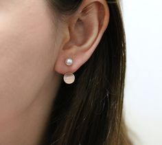 Simple ear jacket rose gold ear jacket gold by SerendipityinSeoul