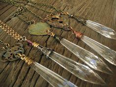 vintage repurposed chandelier crystal prism art nouveau victorian pendant necklace