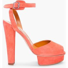 CARVEN Coral Suede Heels ($216) ❤ liked on Polyvore