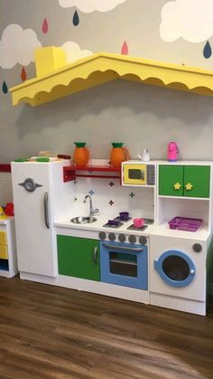 Dollhouse kithen Kitchen set for Barbie Barbie furniture Dolls furniture handmade Miniature doll k Daycare Rooms, Home Daycare, Playroom Design, Playroom Decor, Daycare Design, Kids Cafe, Kindergarten Design, Kids Play Area, Toy Rooms