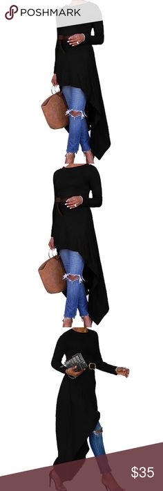 Just In! Plus Size Asymmetrical Long Sleeve Blouse Plus Size Asymmetrical Long Sleeve Blouse in Navy Blue.  Sexy and stylish!  Can be worn as a Blouse over pants, jeans or leggings or wear as a dress with some tights!  Additional colors and sizes available in separate listings. Tops Blouses