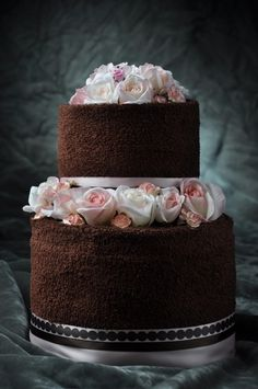 bridal towel cakes with cooking utensils | Towel cakes are a great wedding gift, bridal shower gift or baby ...