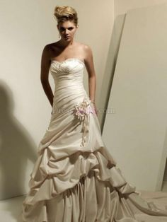 Ivory A-Line/Princess Dropped Sleeveless Garden/Outdoor Wedding Dresses With Flower(s) WD23A