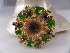 Uranium Glass Floral Brooch Green Marquis by TallulahsVintage