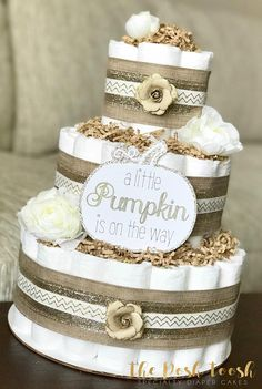 White and Gold Pumpkin Diaper Cake, Baby Shower Centerpiece Decor, Gender Neutral A Little Pumpkin is on the way Shabby Chic Rustic, 2 Tier
