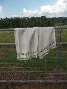 Vintage Linen Table Runner Handmade Crochet Runner by misshettie, $35.00