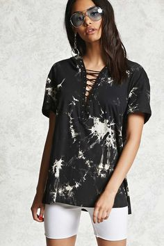 FOREVER 21+ Crystal Wash Strappy Hooded Tee
