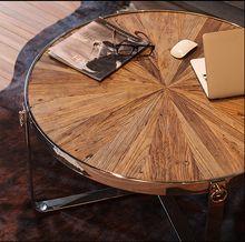 Retro In Legno Tavolino/Semplice Acciaio inox Rotondo Tavolino/Soggiorno tavolo