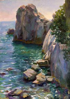 Landscape Paintings, Beach Painting, Water Art, Oil Painting Landscape, Sea Painting, Landscape Art Painting, Watercolor Landscape, Seascapes Art, Seascape Paintings