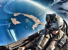 Santorini Greece,photo taken from a Hellenic Air Force F 16 cockpit.