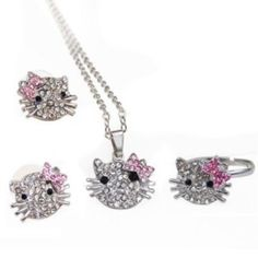 Hello Kitty Pink Bowknot Rhinestone Silver Chain link Pendant Necklace