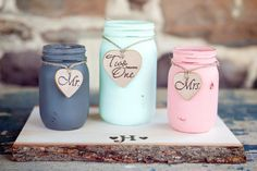 Fair Dinkum  Home and Wedding Decor  Painted and by BeachBlues, $19.00  Shar, paint the ball jars like this and then we wrap ivory lace around them!
