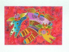 Laurel Burch style fabric postcard
